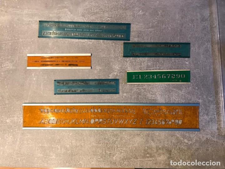 Escribanía: 6 REGLAS STANDARGRAPH/ DFH Y FUNDA - PLANTILLA DE LETRAS, NÚMEROS Y SIGNOS MATEMÁTICOS - Foto 29 - 214064697