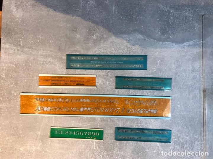 Escribanía: 6 REGLAS STANDARGRAPH/ DFH Y FUNDA - PLANTILLA DE LETRAS, NÚMEROS Y SIGNOS MATEMÁTICOS - Foto 5 - 214064697