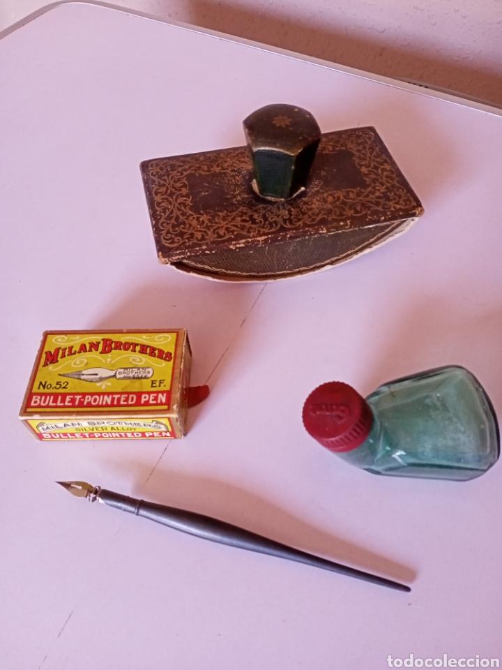 LOTE: TINTERO, PLUMILLA,SECANTE... (Plumas Estilográficas, Bolígrafos y Plumillas - Plumillas y Otros Elementos de Escribanía)
