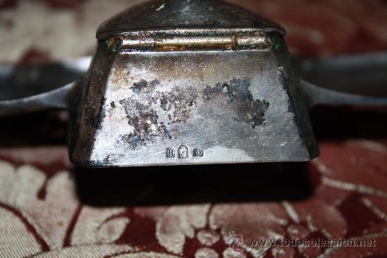 Estilográficas antiguas, bolígrafos y plumas: HERMOSA ESCRIBANÍA DE SOBREMESA. METAL PLATEADO - ART NOUVEAU - PRINC. S.XX - Foto 7 - 31769845