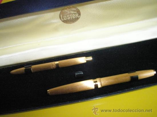 Estilográficas antiguas, bolígrafos y plumas: 9085/JUEGO-PLUMA+BOLIGRAFO-LOSTER-ORO-CAJA-nos-ver fotos. - Foto 3 - 31818577