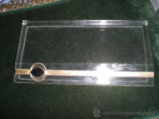 Estilográficas antiguas, bolígrafos y plumas: juego de mechero cenicero y pisapapeles de escritorio metraquilato con metal dorado - Foto 4 - 34641291