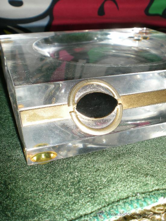 Estilográficas antiguas, bolígrafos y plumas: juego de mechero cenicero y pisapapeles de escritorio metraquilato con metal dorado - Foto 5 - 34641291