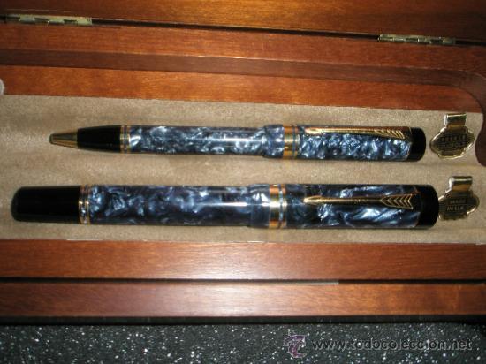 JUEGO-PLUMA+BOLÍGRAFO-PARKER DUOFOLD CENTENNIAL-BLUE MAROON-CAJAS-PLACA-PAPELES-PERFECTO. (Plumas Estilográficas, Bolígrafos y Plumillas - Juegos y Conjuntos)