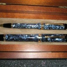 Estilográficas antiguas, bolígrafos y plumas: JUEGO-PLUMA+BOLÍGRAFO-PARKER DUOFOLD CENTENNIAL-BLUE MAROON-CAJAS-PLACA-PAPELES-PERFECTO.. Lote 157494240