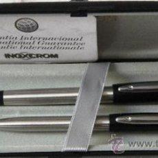 Estilográficas antiguas, bolígrafos y plumas: JUEGO DE ESTILOGRAFICA Y BOLIGRAFO INOXCROM ID NUEVO. Lote 35951607