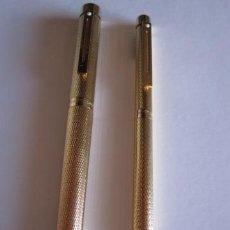 Estilográficas antiguas, bolígrafos y plumas: PLUMA + BOLIGRAFO SHEAFFER BARLEY TARGA 1009 GOLD PLATED - PLUMIN GOLD 14K (VINTAGE). Lote 36930032