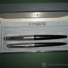 Estilográficas antiguas, bolígrafos y plumas: *804-PLUMA+BOLIGRAFO-PARKER 45-NEGRO+ACERO-BUEN ESTADO-VER FOTOS-(804). Lote 37395144