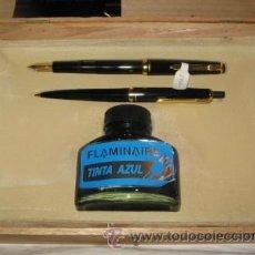 Estilográficas antiguas, bolígrafos y plumas: ESTUCHE FLAMINAIRE CON PLUMA, BOLÍGRAFO Y TINTERO. Lote 39658330