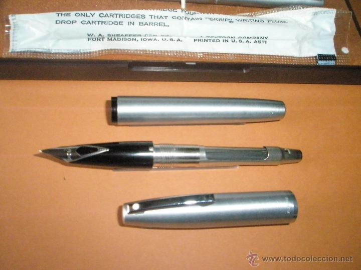 Estilográficas antiguas, bolígrafos y plumas: 575-juego-PLUMA+BOLÍGRAFO-SHEAFFER IMPERIAL 444-usa-PLUMÍN M-CONVERTIDOR-NUEVO-CAJAS - Foto 14 - 40120365