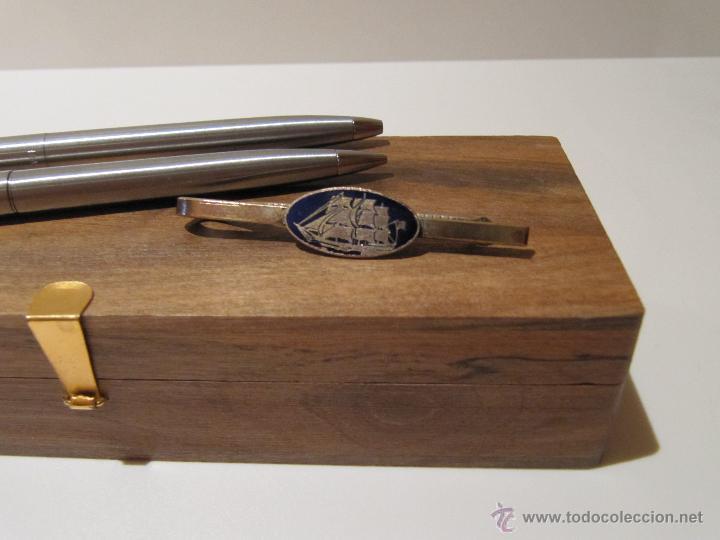 Estilográficas antiguas, bolígrafos y plumas: BOLIGRAFO, PORTAMINAS Y PASADOR DE CORBATA PAPER MATE EN ESTUCHE MADERA - Foto 3 - 41336816