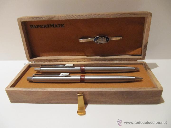 Estilográficas antiguas, bolígrafos y plumas: BOLIGRAFO, PORTAMINAS Y PASADOR DE CORBATA PAPER MATE EN ESTUCHE MADERA - Foto 4 - 41336816