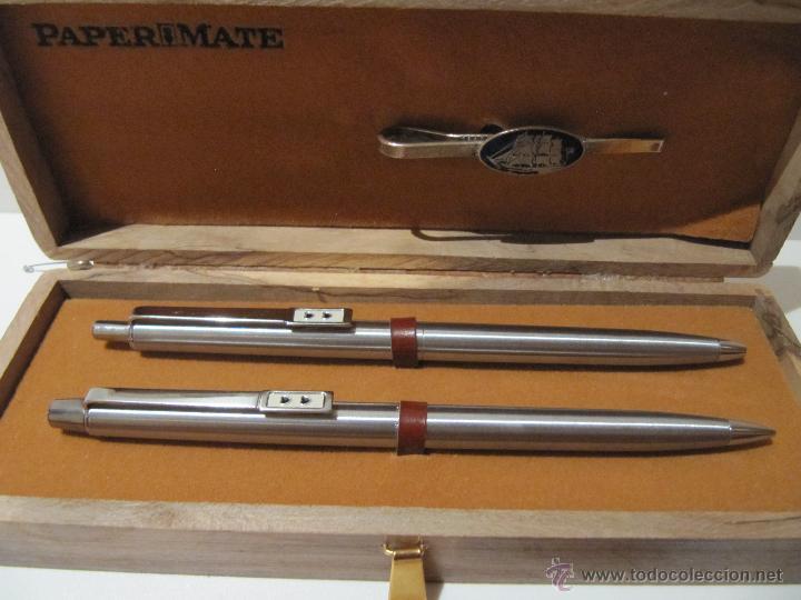 Estilográficas antiguas, bolígrafos y plumas: BOLIGRAFO, PORTAMINAS Y PASADOR DE CORBATA PAPER MATE EN ESTUCHE MADERA - Foto 5 - 41336816