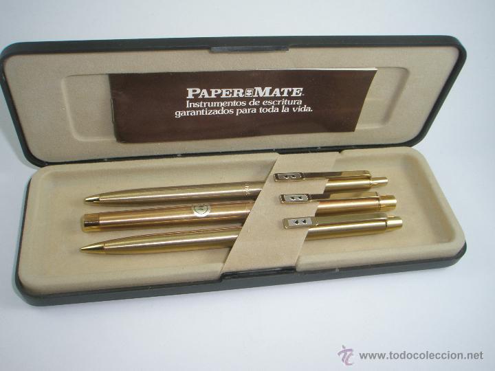 Estilográficas antiguas, bolígrafos y plumas: NN686-PLUMA+BOLÍGRAFO+PORTAMINAS-PAPER MATE DORADO-CAJA-NUEVO - Foto 3 - 41668810