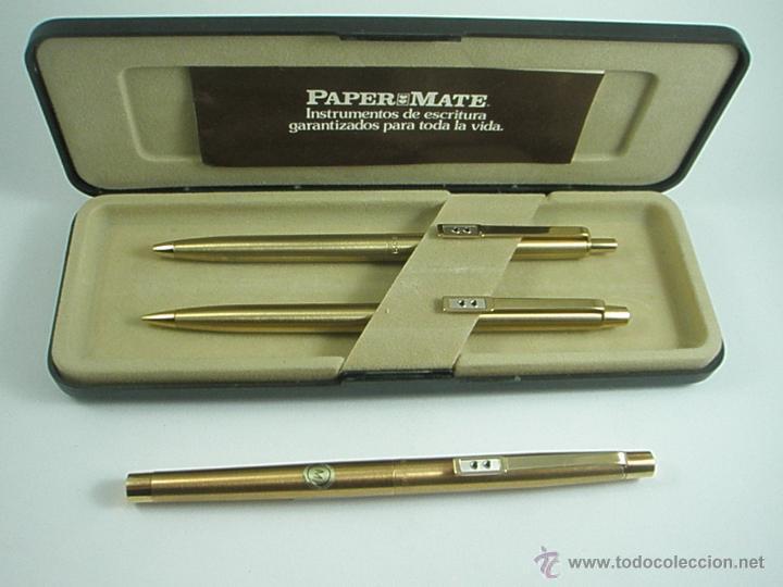 Estilográficas antiguas, bolígrafos y plumas: NN686-PLUMA+BOLÍGRAFO+PORTAMINAS-PAPER MATE DORADO-CAJA-NUEVO - Foto 5 - 41668810