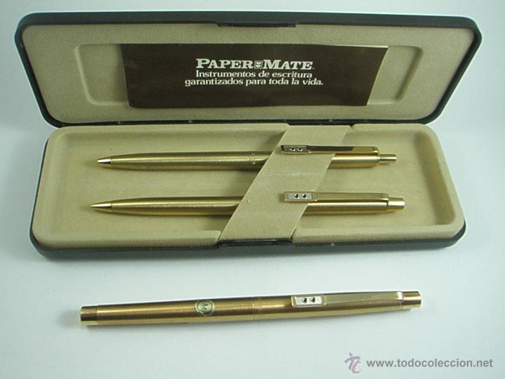 Estilográficas antiguas, bolígrafos y plumas: NN686-PLUMA+BOLÍGRAFO+PORTAMINAS-PAPER MATE DORADO-CAJA-NUEVO - Foto 6 - 41668810