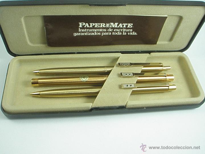 Estilográficas antiguas, bolígrafos y plumas: NN686-PLUMA+BOLÍGRAFO+PORTAMINAS-PAPER MATE DORADO-CAJA-NUEVO - Foto 8 - 41668810