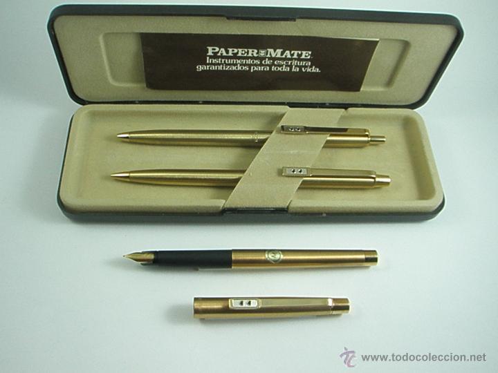 Estilográficas antiguas, bolígrafos y plumas: NN686-PLUMA+BOLÍGRAFO+PORTAMINAS-PAPER MATE DORADO-CAJA-NUEVO - Foto 10 - 41668810
