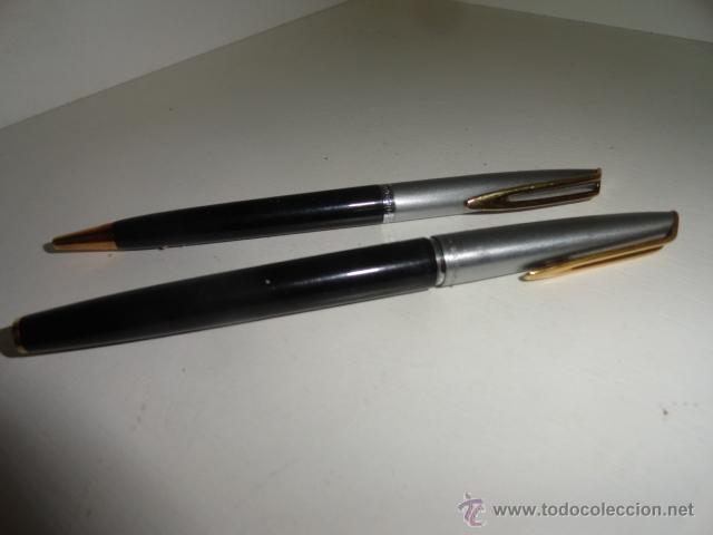 Estilográficas antiguas, bolígrafos y plumas: JUEGO BOLIGRAFO Y PLUMA WATERMAN PLUMIN ORO 18KT - Foto 2 - 43169051