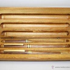 Estilográficas antiguas, bolígrafos y plumas: EST135 CONJUNTO DE PLUMA, BOLÍGRAFO Y ABRECARTAS - MADERA CON DETALLES EN METAL DORADO. Lote 45737590