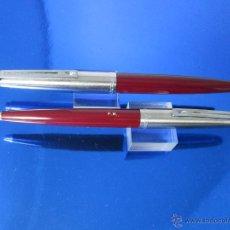 Estilográficas antiguas, bolígrafos y plumas: XB-AºJºPLUMA+BOLIGRAFO-INOXCROM 77 GRUESA-BURDEOS+ACERO-ULT.SERIES-CARTUCHOS-BUEN ESTADO-(725). Lote 36976805