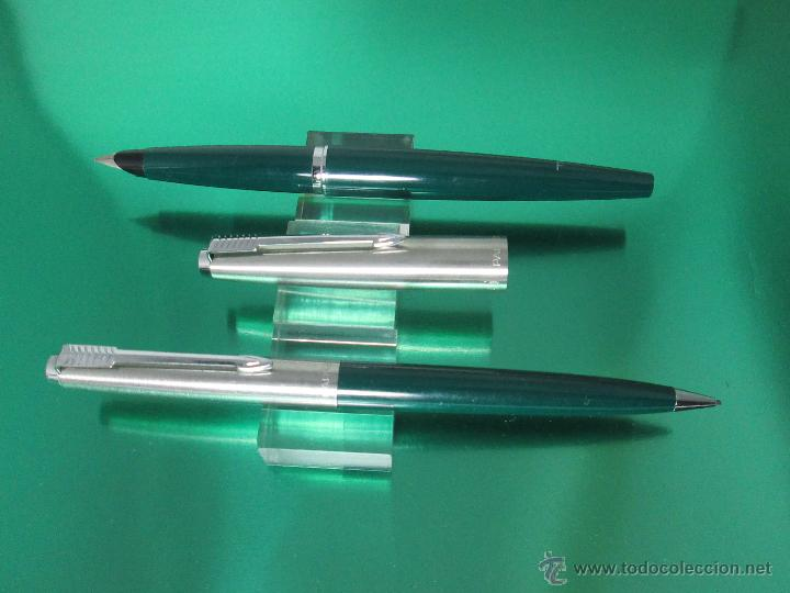 Estilográficas antiguas, bolígrafos y plumas: NN795-JUEGO PLUMA ESTILOGRAFICA+PORTAMINAS-PARKER 45 CLASSIC-VERDE+ACERO-CONVERTIDOR-PERFECTO-V/F - Foto 2 - 47825808