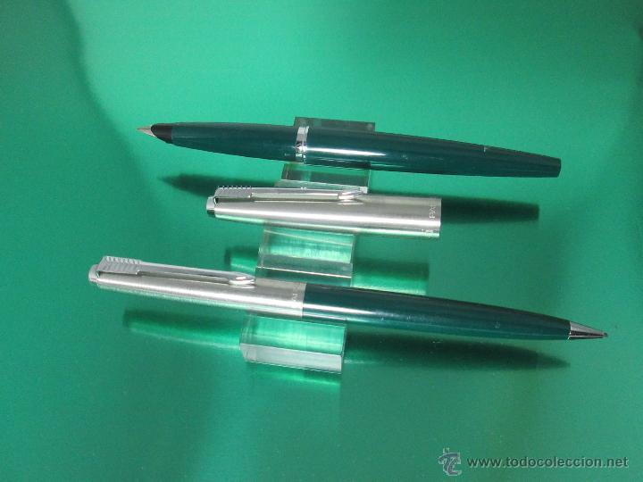 Estilográficas antiguas, bolígrafos y plumas: NN795-JUEGO PLUMA ESTILOGRAFICA+PORTAMINAS-PARKER 45 CLASSIC-VERDE+ACERO-CONVERTIDOR-PERFECTO-V/F - Foto 8 - 47825808