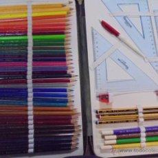 Estilográficas antiguas, bolígrafos y plumas: ESTUCHE ESCOLAR 36 LAPICES COLORES STAEDTLER + PLUMIER - JAMAS USADO / COMPLETO. Lote 51549685