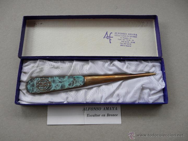 Estilográficas antiguas, bolígrafos y plumas: ABRECARTAS BRONCE - OBRA DEL ESCULTOR ALFONSO MAYA - Foto 3 - 51958981
