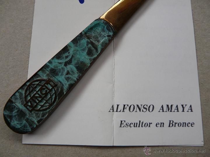 Estilográficas antiguas, bolígrafos y plumas: ABRECARTAS BRONCE - OBRA DEL ESCULTOR ALFONSO MAYA - Foto 4 - 51958981