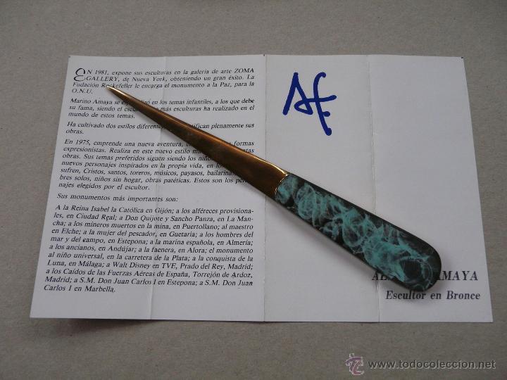 Estilográficas antiguas, bolígrafos y plumas: ABRECARTAS BRONCE - OBRA DEL ESCULTOR ALFONSO MAYA - Foto 14 - 51958981