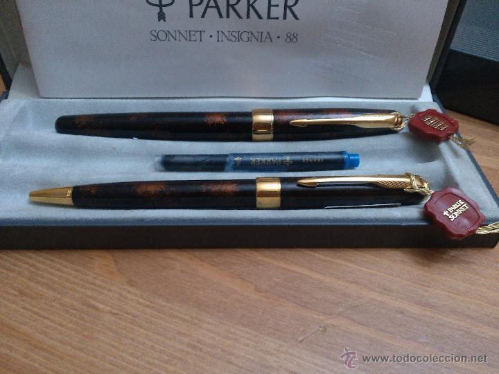 Estilográficas antiguas, bolígrafos y plumas: Parker sonnet insignia laque chinesse vison fonce - Foto 2 - 54345059