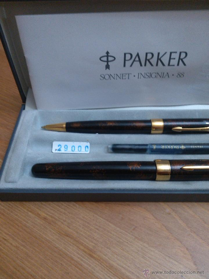 Estilográficas antiguas, bolígrafos y plumas: Parker sonnet insignia laque chinesse vison fonce - Foto 3 - 54345059