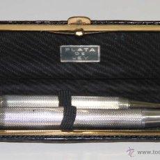 Estilográficas antiguas, bolígrafos y plumas: EST257 CONJUNTO DE PLUMA Y PORTAMINAS. PLATA. CAJA ORIGINAL. ESPAÑA. PRINC. S. XX. Lote 53060931