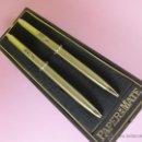 Estilográficas antiguas, bolígrafos y plumas: N9750-JUEGO BOLÍGRAFO+PORTAMINAS-PAPER MATE MODELO DORADO-CAJA-NUEVO-CAJA-ANTIGUO-BUEN ESTADO. Lote 41661850