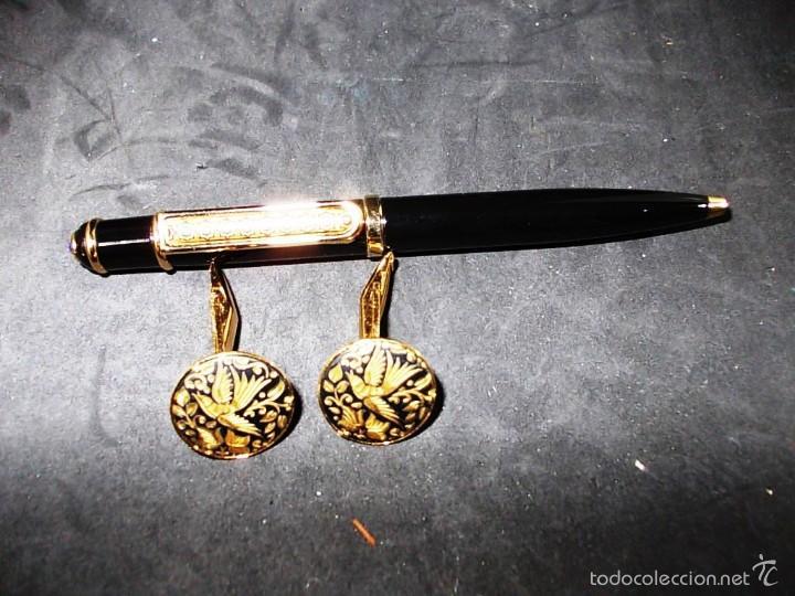 Estilográficas antiguas, bolígrafos y plumas: PRECIOSO CONJUNTO DE BOLIGRAFO Y GEMELOS DAMASQUINADOS - Foto 2 - 55785570