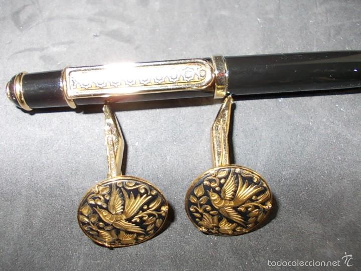 Estilográficas antiguas, bolígrafos y plumas: PRECIOSO CONJUNTO DE BOLIGRAFO Y GEMELOS DAMASQUINADOS - Foto 3 - 55785570
