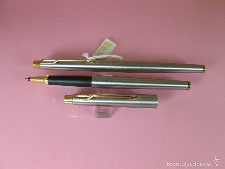 Estilográficas antiguas, bolígrafos y plumas: 9395/JUEGO PLUMA+ROLLER-PARKER CLASSIC GT-FLIGTHER-CAJA - Foto 3 - 37395215