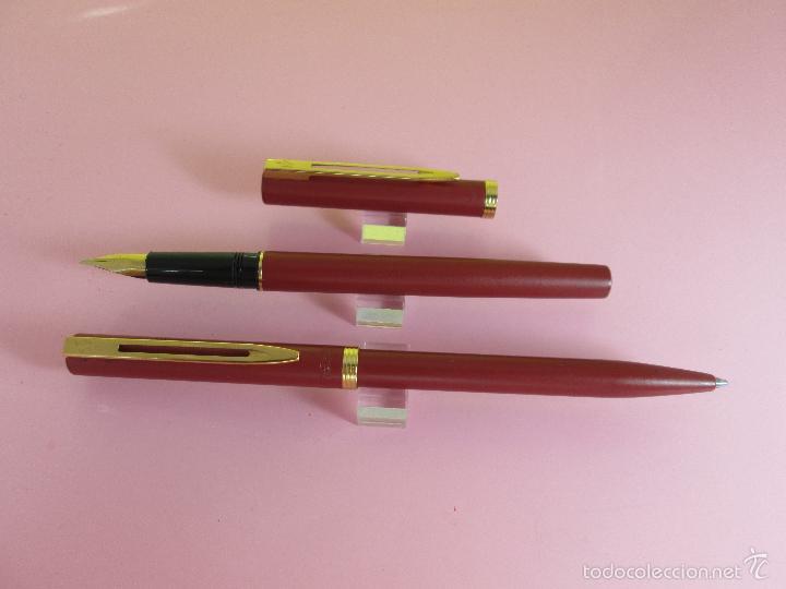 Estilográficas antiguas, bolígrafos y plumas: AZ-ANTIGUO JUEGO-PLUMA+BOLIGRAFO-FRANCE-WATERMAN VERMEILL MATE-NOS-CAJA-NUEVO-(985) - Foto 5 - 37447328