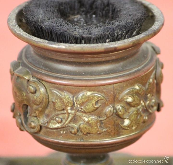 Estilográficas antiguas, bolígrafos y plumas: CONJUNTO DE ESCRIBANIA DE 3 PIEZAS EN METAL PLATEADO. SIGLO XIX. - Foto 14 - 58375689