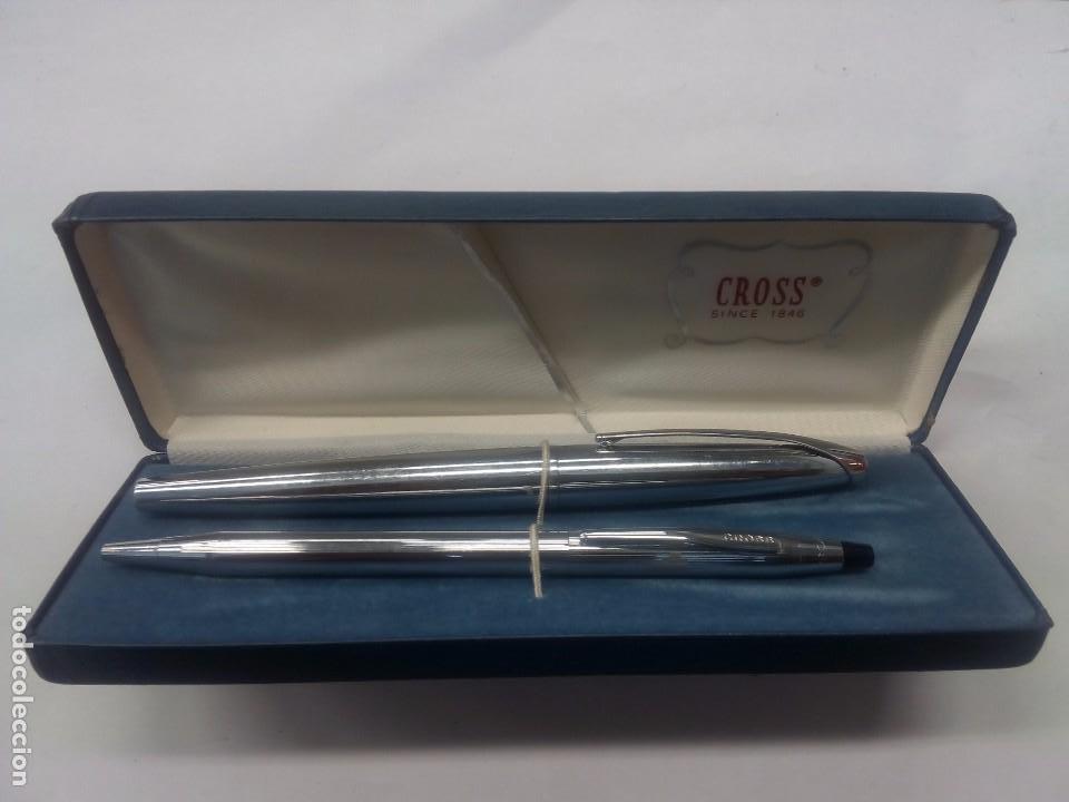 Estilográficas antiguas, bolígrafos y plumas: Juego de pluma y bolígrafo Cross - Foto 2 - 63789039