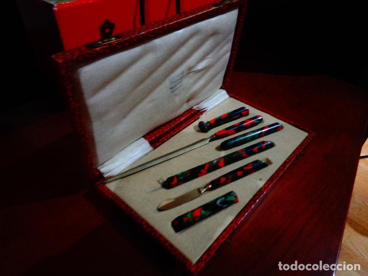 Estilográficas antiguas, bolígrafos y plumas: estuche oficina nacar - Foto 3 - 64614123