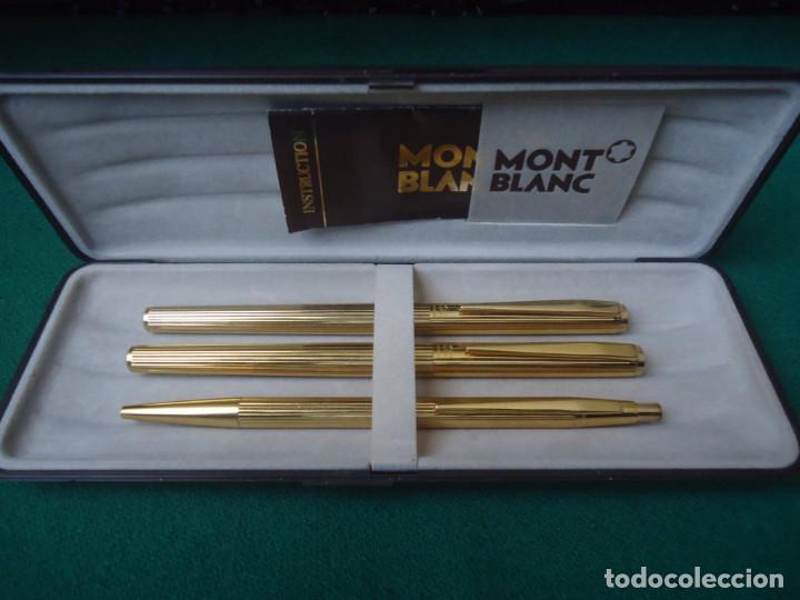 JUEGO MONTBLANC PLUMA ORO 14CT 585 ,ROLLER Y BOLIGRAFO. (Plumas Estilográficas, Bolígrafos y Plumillas - Juegos y Conjuntos)