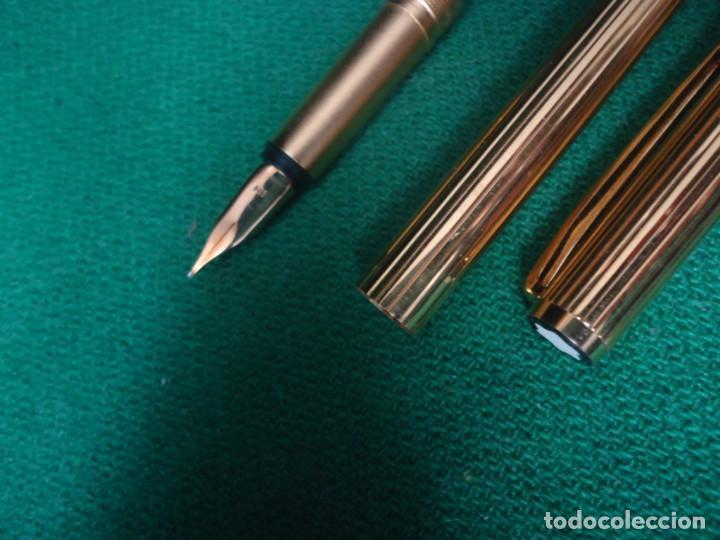 Estilográficas antiguas, bolígrafos y plumas: Juego Montblanc Pluma oro 14ct 585 ,Roller y Boligrafo. - Foto 9 - 176111239