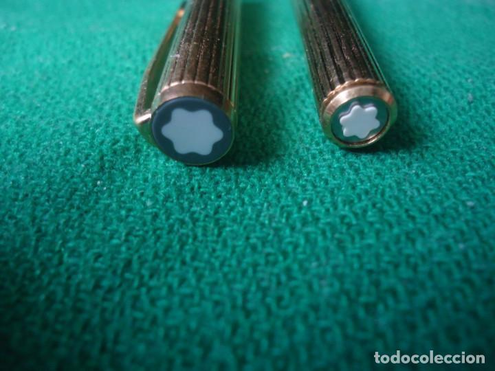 Estilográficas antiguas, bolígrafos y plumas: Juego Montblanc Pluma oro 14ct 585 ,Roller y Boligrafo. - Foto 21 - 176111239