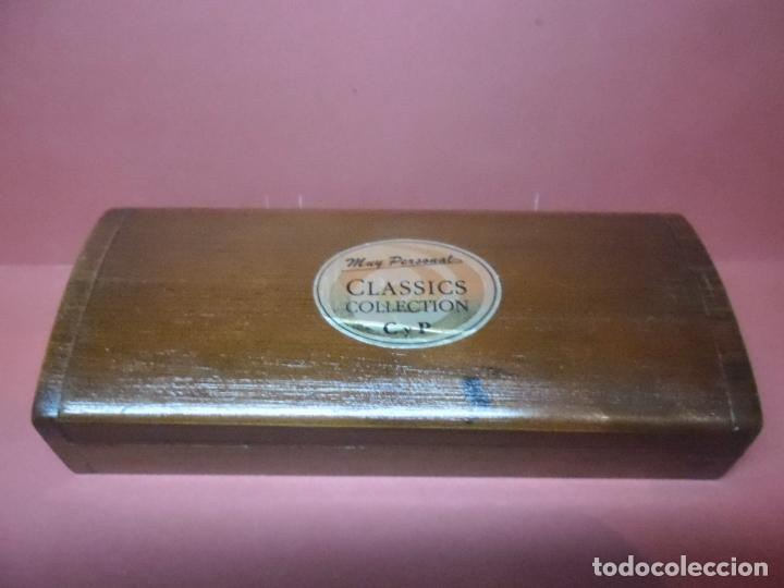 Estilográficas antiguas, bolígrafos y plumas: estuche de madera c y p - reloj + boligrafo - Foto 3 - 67953561