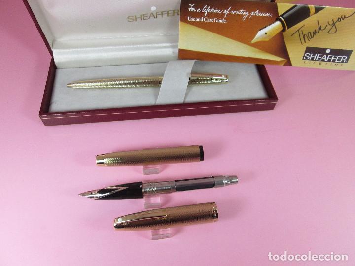 Estilográficas antiguas, bolígrafos y plumas: N1002-SHEAFFER IMPERIAL 827 BARLEYCORN-pluma+bolígrafo-ORO g.p.-CAJA-papel-perfecto-ver fotos - Foto 17 - 37142084