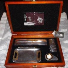 Estilográficas antiguas, bolígrafos y plumas: CAJA DE MADERA CON JUEGO DE ESCRITORIO DISEÑO EXCLUSIVO ART GALERI. Lote 70048517