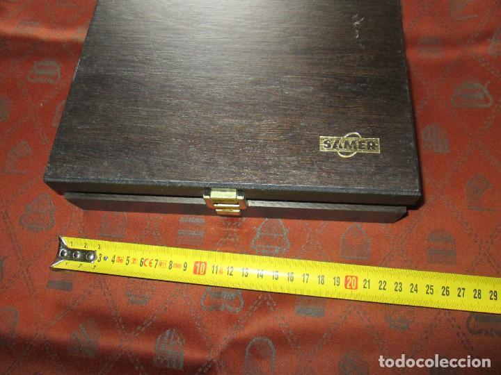 Estilográficas antiguas, bolígrafos y plumas: (7443)-juego escritorio-samer-acero inoxidable-caja madera-nos-ver fotos. - Foto 3 - 70180309