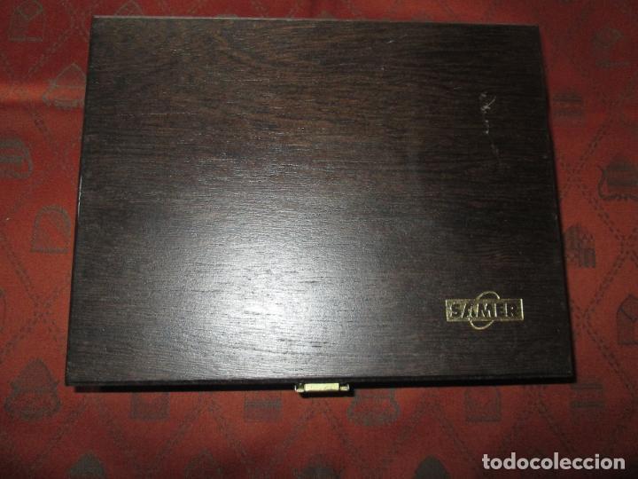 Estilográficas antiguas, bolígrafos y plumas: (7443)-juego escritorio-samer-acero inoxidable-caja madera-nos-ver fotos. - Foto 5 - 70180309